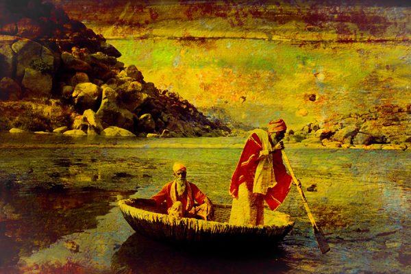 Hommes sur barque