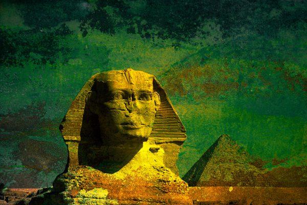 Sphynx de Giza sur fond vert