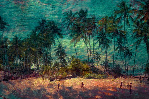 Enfants courants sur une plage de cocotiers